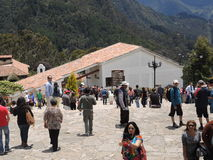 People in the church of the mountain of Monserrate. Royalty Free Stock Photography