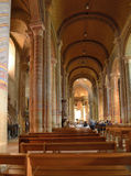 People in the church Notre-Dame la Grande, Poitiers, France Stock Photos