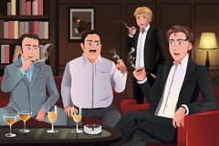 People in a cigar lounge. A vector illustration of people in a cigar lounge Royalty Free Stock Image