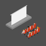 People in the cinema. Group of friends people in the cinema wathcing film isometric vector illustration Stock Photos