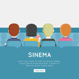 People in Cinema Hall. Back view. Four young men and a woman sitting in a chair facing a blank screen. Cinema background. Website design template. Vector Royalty Free Stock Photography
