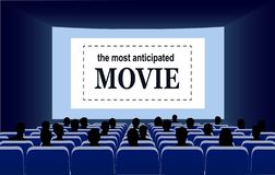 People in the cinema hall vector illustration. royalty free stock photos