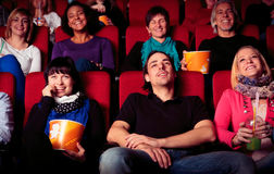People At The Cinema. Watching a movie Stock Photography
