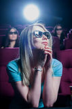 People in the cinema wearing 3d glasses Stock Photography