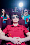 People in the cinema wearing 3d glasses Royalty Free Stock Photos