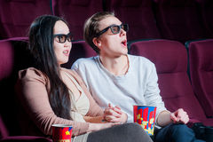 People in the cinema wearing 3d glasses Royalty Free Stock Photography