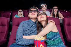 People in the cinema wearing 3d glasses Royalty Free Stock Images