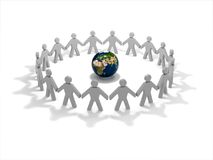 People circle. People around the globe on a white background stock illustration
