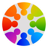 People circle. Circle logo with people in rainbow colors Royalty Free Stock Images