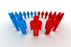 People in circle. Outsiders - 3d illustration Royalty Free Stock Photo