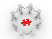 People in a circle around a puzzle piece. 3d people in a circle around a red puzzle piece Royalty Free Stock Photo
