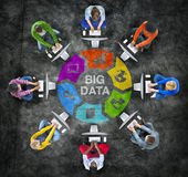 People in a Circle with Big Data Concept Royalty Free Stock Photography