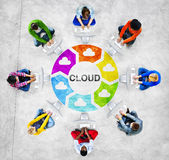 People in a Circle with Cloud Concept Stock Photos