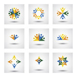 People in circle, community or team of kids, employees vector ic Stock Images