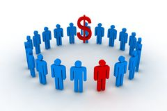 People in circle with dollar s Stock Photography