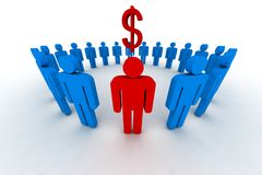 People in circle with dollar s Stock Images