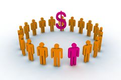 People in circle with dollar sign. 3d illustration Stock Photo