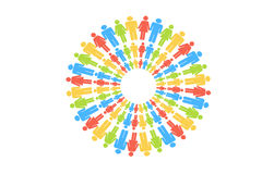 People Circle Gather Around on white background Stock Image
