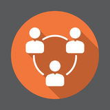People circle, group of users flat icon. Round colorful button, circular vector sign with long shadow effect. Stock Photos