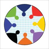 People in Circle icon. Stylized People in Circle icon, in vector format use with or squares background Stock Photos