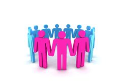 People in circle - outsiders. 3d illustration Stock Photography