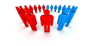 People in circle - outsiders. 3d illustration Royalty Free Stock Photography