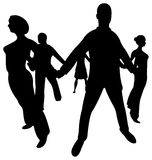 People circle silhouette Stock Photography