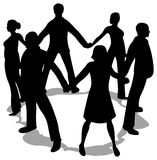 People circle silhouette Royalty Free Stock Images