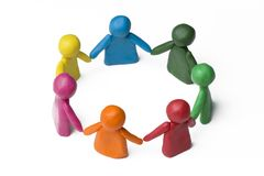 People in the circle - team work. White background royalty free stock image