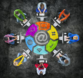 People in Circle Using Computer with Email Concept Royalty Free Stock Photo