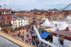 People circles around the Boudhanath stupa in Kathmandu, Nepal Royalty Free Stock Photo