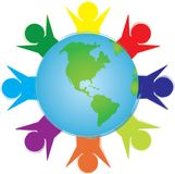 People circling the earth. Bright colored people circling the earth representing multiculturalism Stock Photography