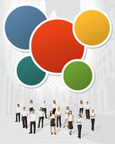People on the city. Colorful template for advertising brochure with business people on the city Royalty Free Stock Photography