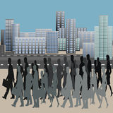 People  in the city center. People in move in the city center. Crowd of people in the street. Busy traffic and skyscrapers on the background. City life. Skyline Royalty Free Stock Photography