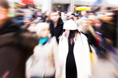 People in the city with creative zoom effect Royalty Free Stock Photography
