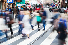 People in the city crossing the street. People in the city of Frankfurt, Germany, crossing the street at the zebra crossing Stock Photography