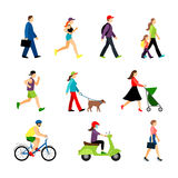 People in city isolated on white background. Men and women in urban lifestyle vector illustration Stock Photography