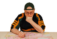 People and a city map. Royalty Free Stock Photo