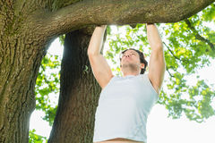 People in city park doing chins or pull ups Stock Photo