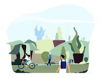 People in city park. Free green giant plants persons walk ride bike in eco urban summer spring garden healthy lifestyle royalty free illustration