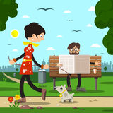 People in City Park. Man on Bench Reading Newspapers and Woman with Dog Royalty Free Stock Image