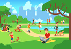 People in city park. Relaxing men and women outdoor with smart phones vector illustration Stock Photos