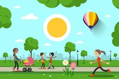 People in City Park Vector Cartoon. Sunny Day in Park Stock Illustration
