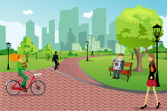 People in a city park. A vector illustration of young modern trendy people in a city park doing activities Royalty Free Stock Image