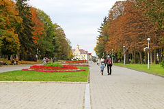 People in the city park with wide footpath in Chernihiv Stock Image