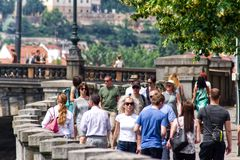 People in the city in Prague stock photography