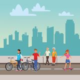 People in the city. Riding bicicle old man and woman walking skyscrapers silhouette cityscape stock illustration