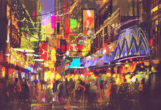 People in city street with illumination and nightlife. Digital painting vector illustration