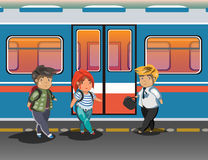 People in city subway. People in metro. Vector illustration Stock Images