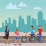 People in the city. Woman with pram student skyscrapers silhouette cityscape royalty free illustration